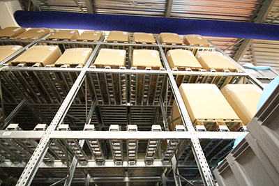 Galvanised Pallet Racking. Push back racks.